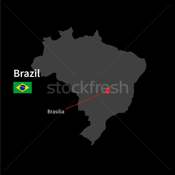 Detailed map of Brazil and capital city Brasilia with flag on black background Stock photo © tkacchuk