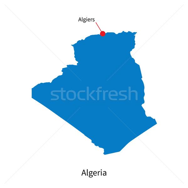 Detailed vector map of Algeria and capital city Algiers Stock photo © tkacchuk
