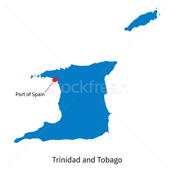 Detailed vector map of Trinidad and Tobago with capital city Stock photo © tkacchuk
