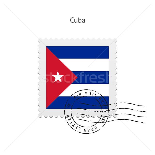 Kuba zászló postabélyeg fehér felirat levél Stock fotó © tkacchuk