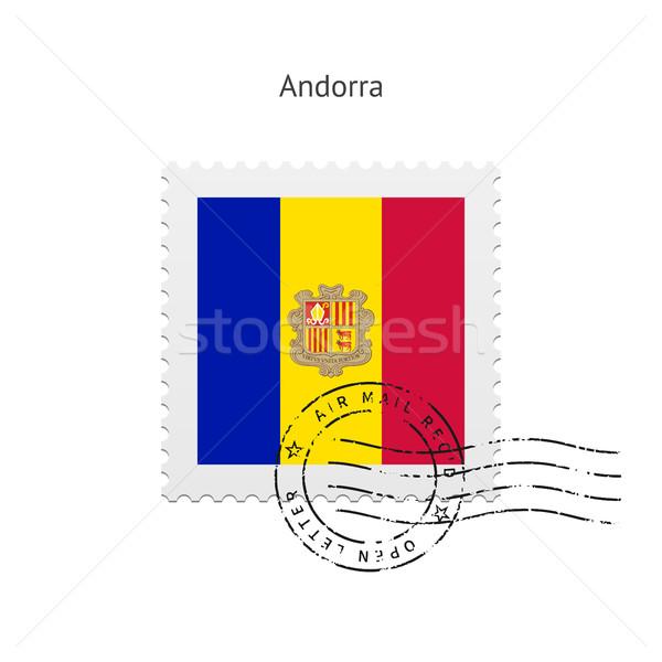 Andorra Flagge Briefmarke weiß Zeichen Schreiben Stock foto © tkacchuk