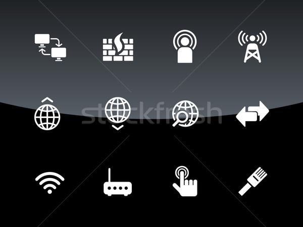 Netwerken iconen zwarte hand computers netwerk Stockfoto © tkacchuk