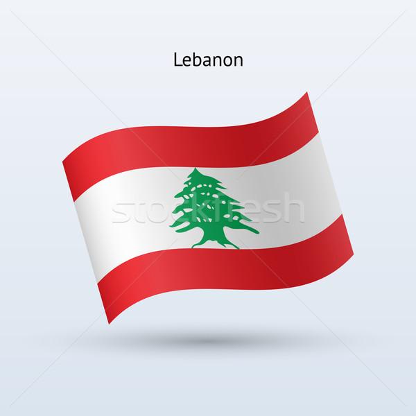 Libanon zászló integet űrlap szürke felirat Stock fotó © tkacchuk