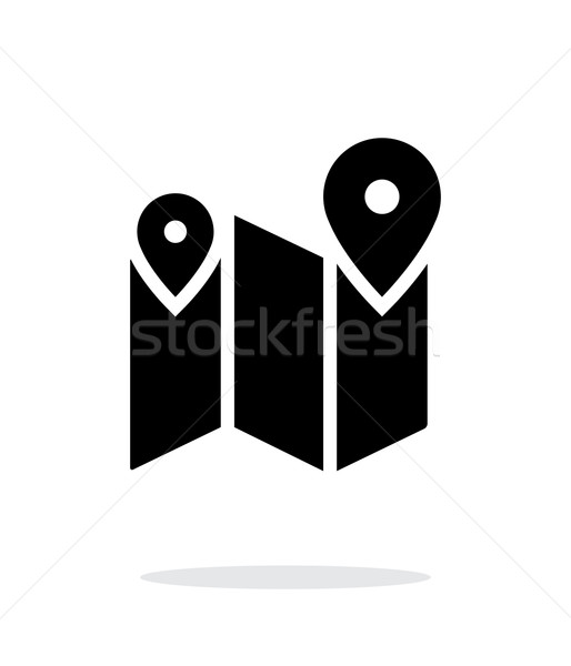Kaart route icon witte weg web Stockfoto © tkacchuk