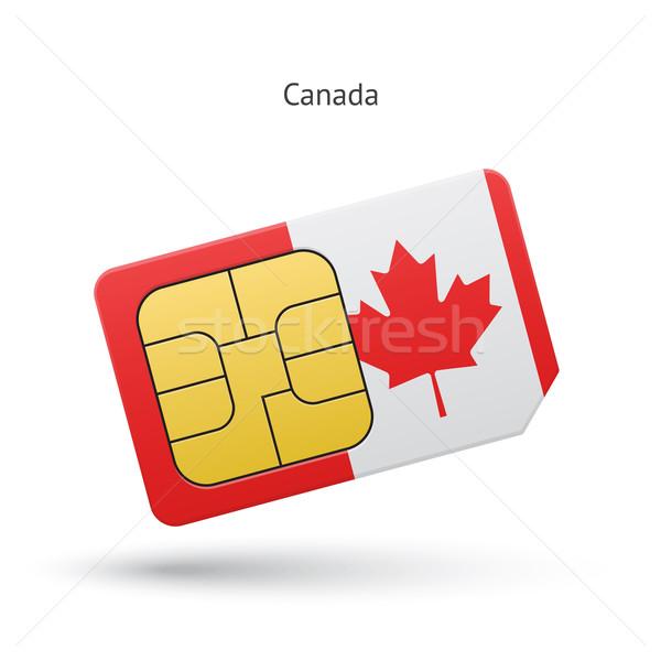 Canada mobile phone sim card with flag. Stock photo © tkacchuk