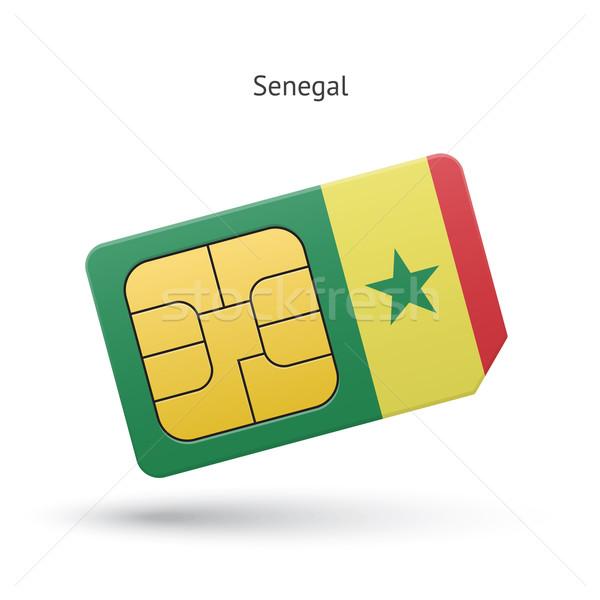 Szenegál mobiltelefon kártya zászló üzlet terv Stock fotó © tkacchuk