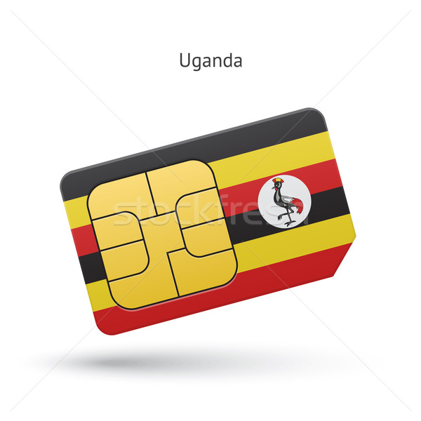Ouganda téléphone portable carte pavillon affaires design Photo stock © tkacchuk