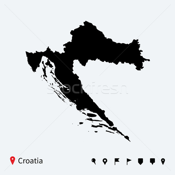 Stock photo: High detailed vector map of Croatia with navigation pins.