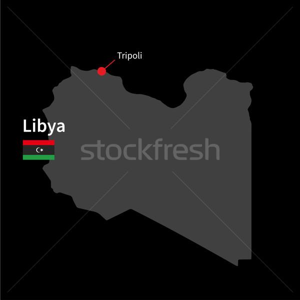 Szczegółowy Pokaż Libia miasta banderą czarny Zdjęcia stock © tkacchuk