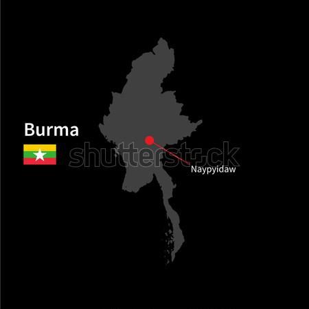 Detailed map of Sark with flag on black background Stock photo © tkacchuk