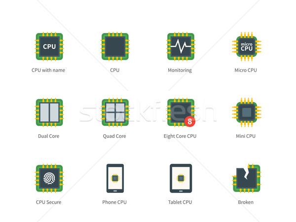 Stock fotó: Modern · számítógép · processzor · szín · ikonok · fehér