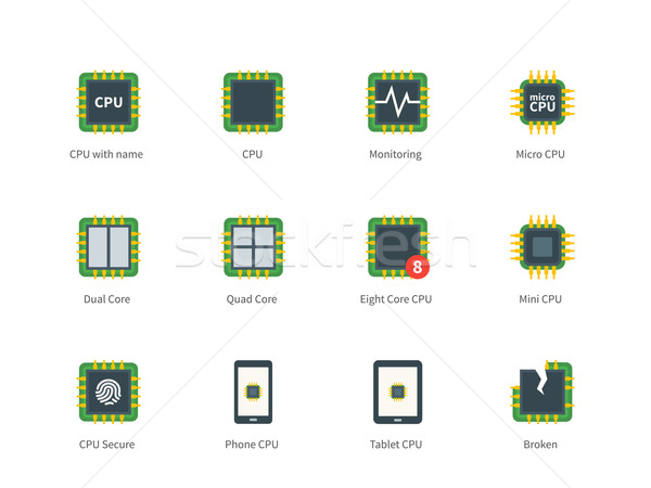 Moderna ordenador procesador color iconos blanco Foto stock © tkacchuk