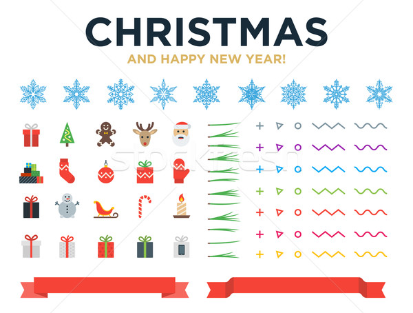 Marry Christmas and Happy New Year modern design vector elements with snowflakes, icons, pine needle Stock photo © tkacchuk