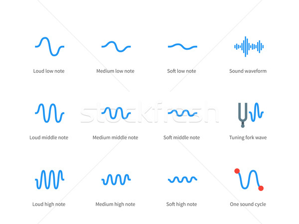 Music waves color icons on white background  vector illustration
