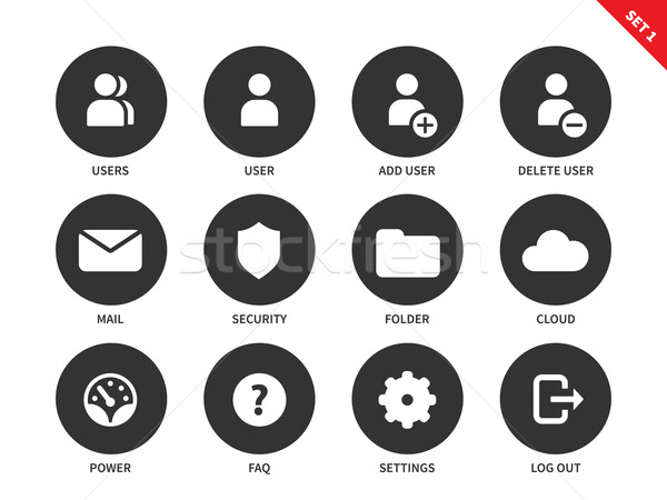 Internet account icons on white background Stock photo © tkacchuk
