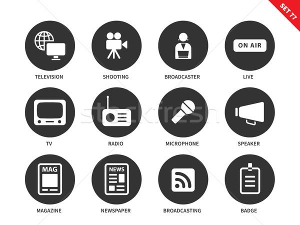Media icons on white background Stock photo © tkacchuk