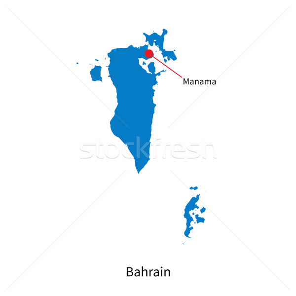 Detailed vector map of Bahrain and capital city Manama Stock photo © tkacchuk