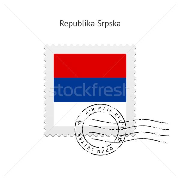 Zászló postabélyeg fehér felirat levél bélyeg Stock fotó © tkacchuk