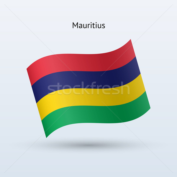 Mauritius zászló integet űrlap szürke felirat Stock fotó © tkacchuk