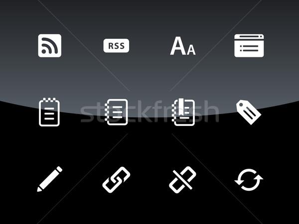 Blogger icons on black background Stock photo © tkacchuk