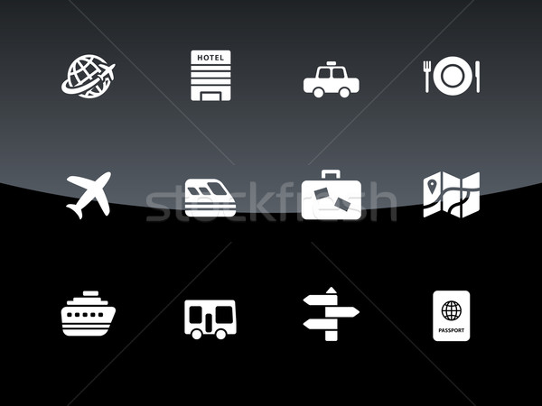 Travel icons on black background. Stock photo © tkacchuk