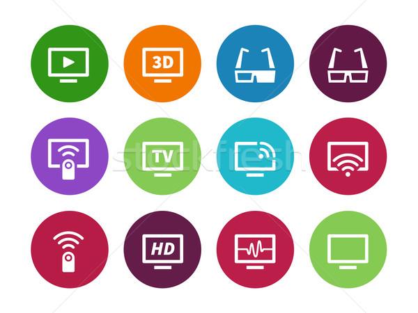 TV circle icons on white background. Stock photo © tkacchuk