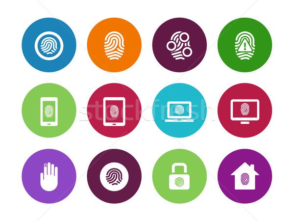 Fingerprint circle icons on white background. Stock photo © tkacchuk