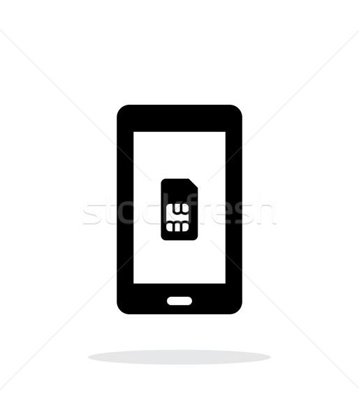 Mobile phone SIM card simple icon on white background. Stock photo © tkacchuk