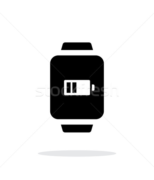 Stock photo: Battery charge in smart watch simple icon on white background.
