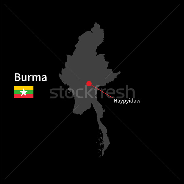 Detailed map of Burma and capital city Naypyidaw with flag on black background Stock photo © tkacchuk