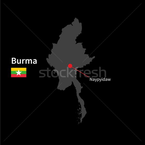 Gedetailleerd kaart birma stad vlag zwarte Stockfoto © tkacchuk