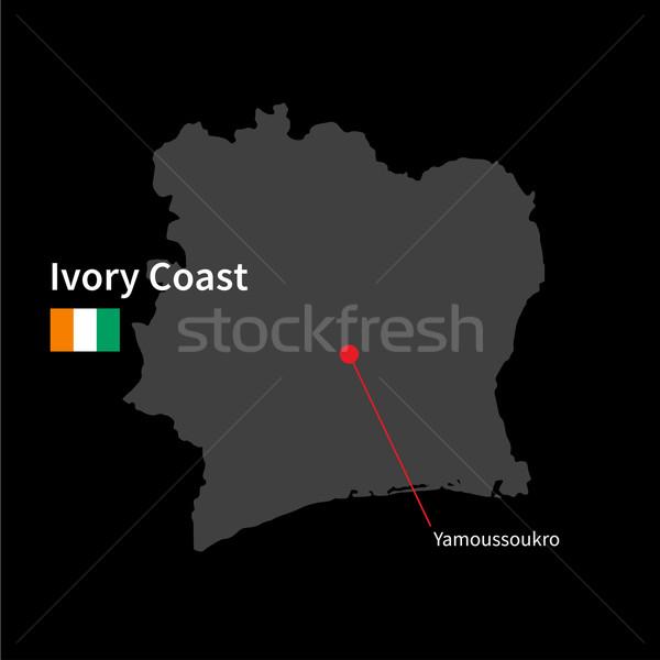 Részletes térkép Elefántcsontpart város zászló fekete Stock fotó © tkacchuk