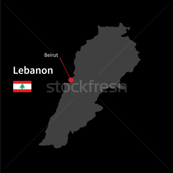 Detalhado mapa Líbano cidade bandeira preto Foto stock © tkacchuk