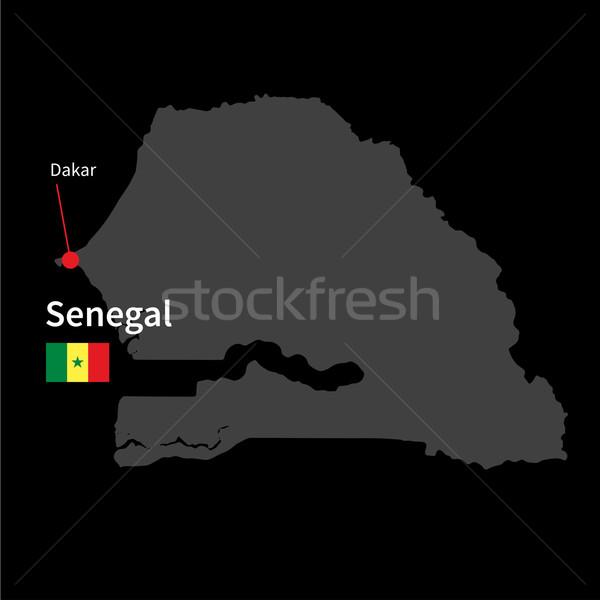 Részletes térkép Szenegál város zászló fekete Stock fotó © tkacchuk