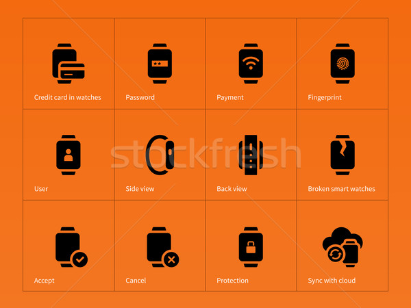 Smart gadget and payment icons on orange background. Stock photo © tkacchuk