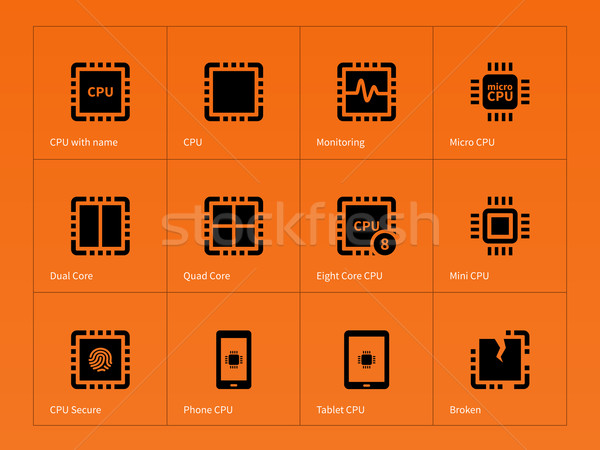 Microprocessador ícones laranja projeto energia dados Foto stock © tkacchuk
