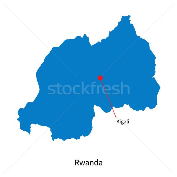 Detailed vector map of Rwanda and capital city Kigali Stock photo © tkacchuk