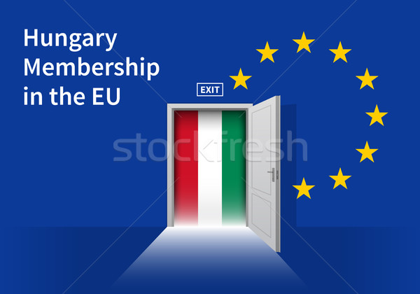 European Union flag wall with Hungary flag door. EU Flag. Stock photo © tkacchuk