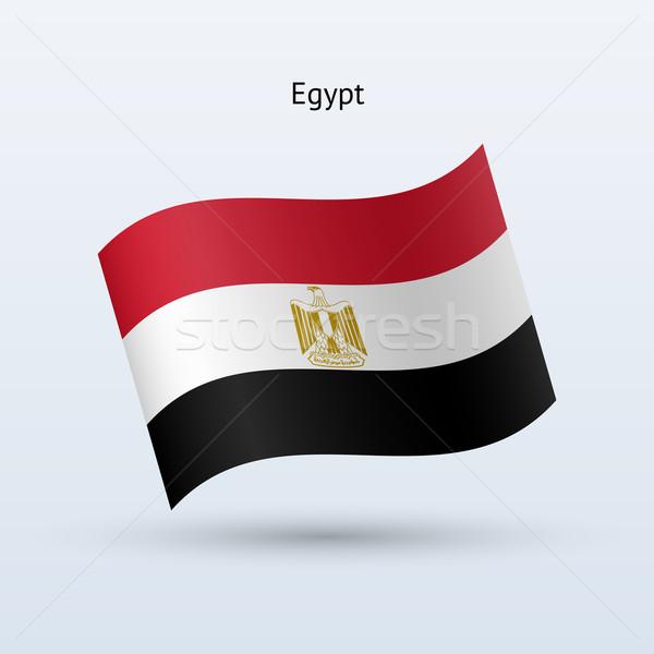 Egypt flag waving form. Vector illustration. Stock photo © tkacchuk