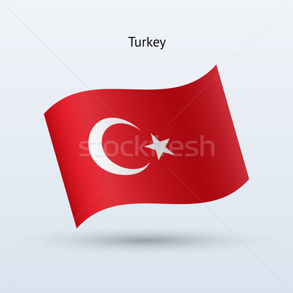 Turkey flag waving form. Vector illustration. Stock photo © tkacchuk