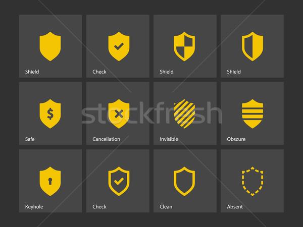 Foto stock: Escudo · ícones · quadro · assinar · segurança · seguro