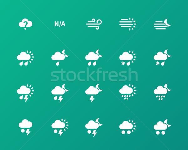 Weather icons on green background. Stock photo © tkacchuk