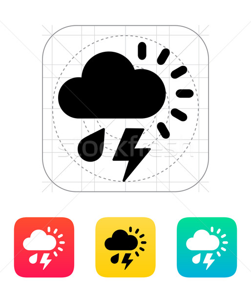 Stock fotó: Eső · villám · időjárás · ikon · égbolt · terv
