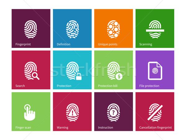 Vingerafdruk iconen kleur business hand teken Stockfoto © tkacchuk