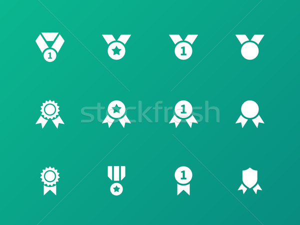 Premio medaglia icone verde sfondo segno Foto d'archivio © tkacchuk