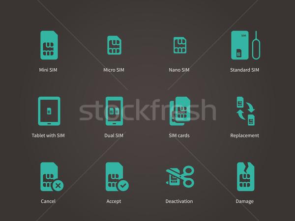 Set of mini, micro and nano simcard icons set. Stock photo © tkacchuk