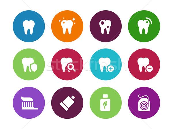 Tooth, teeth circle icons on white background. Stock photo © tkacchuk