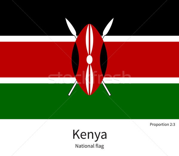 National flag of Kenya with correct proportions, element, colors Stock photo © tkacchuk