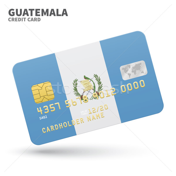 Credit card with Guatemala flag background for bank, presentations and business. Isolated on white Stock photo © tkacchuk