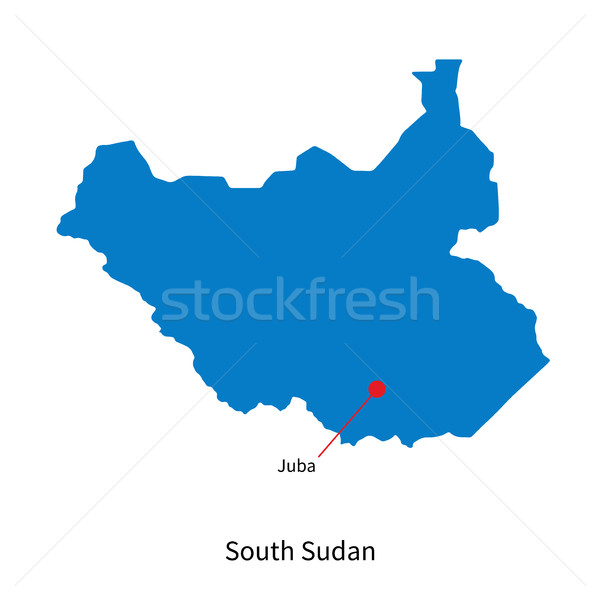 Detailed vector map of South Sudan and capital city Juba Stock photo © tkacchuk